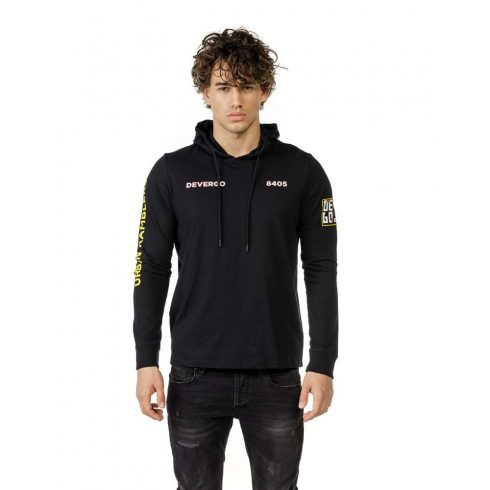 DEVERGO Férfi Hosszú ujjú kapucnis póló fekete
