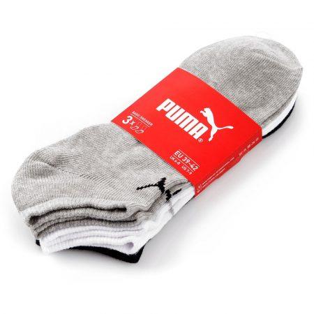 PUMA QUARTER-V 3P grey-white-black unisex zokni